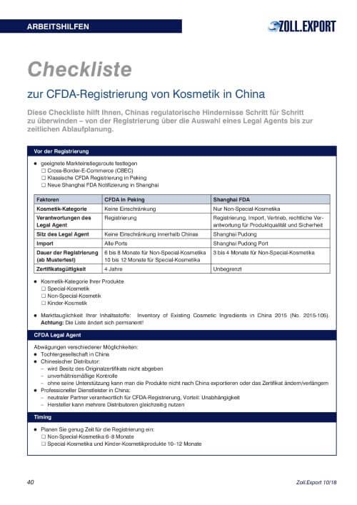 CL C206 CFDA-Registrierung von Kosmetik in China