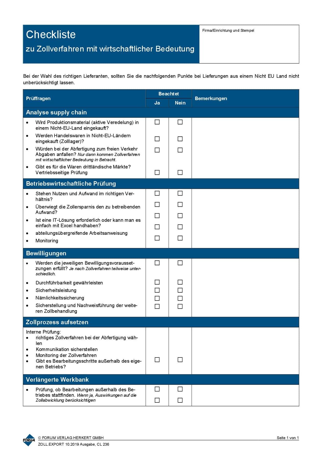 CL236 Zollverfahren Lieferantenauswahl 1019
