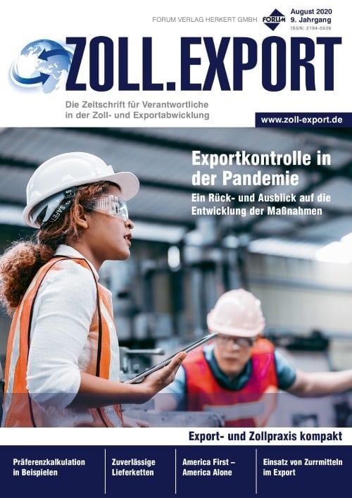 Ausgabe August 2020<br>Exportkontrolle